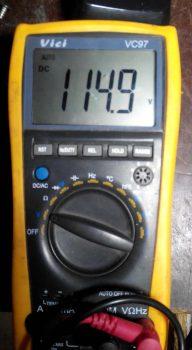 напряжение после замены конденсора.