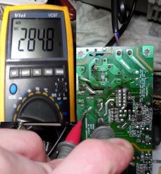 Напряжение на сетевом конденсаторе после его замены