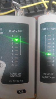 Проверка кросс кабеля. 2 пин звонится с 6 на ответной части