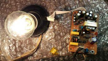 Короткое замыкание в схема. Лампа горит на полную яркость.