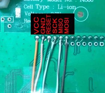 подпайка проводов для прошивки к ESR метру.